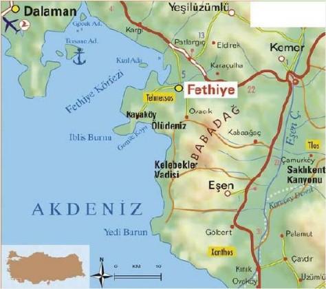 Fethiye Karte Und Wirtdschaft Antalya Turkei